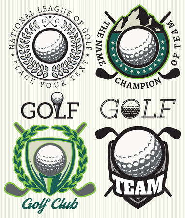 set van vector patronen badges met attributen voor golf Stock Illustratie