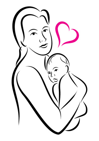sketch child: stylized holy union of mother and child love family