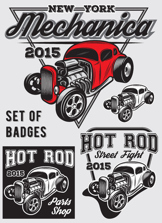 hot: set of retro badges with Hot Rod Illustration
