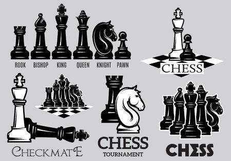 ajedrez: Conjunto de emblemas y signos para el torneo de ajedrez