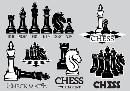 Set of emblems and signs for the chess tournament