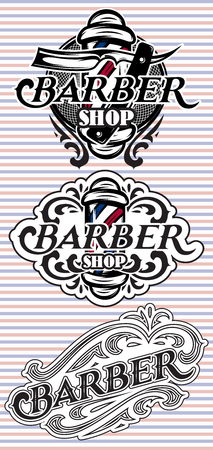 barbershop: Set of retro badges with ornament for Barbershop