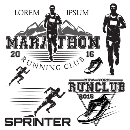 running shoe: set of black and white sports emblems for the sprint and marathon