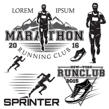 set van zwarte en witte sport emblemen voor de sprint en marathon