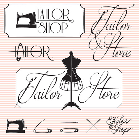 sew: set of templates for promotional signage tailor shop Illustration