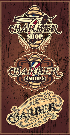 beautiful hair: Set of retro badges with ornament for Barbershop