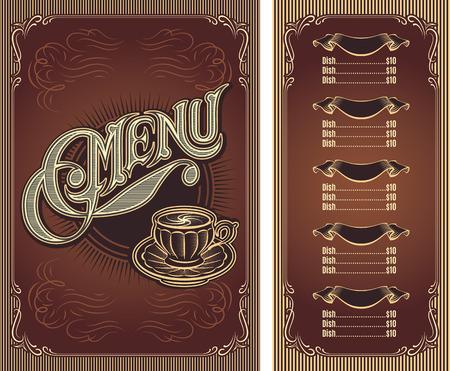 hot drinks: Template menu for hot drinks tea coffee restaurant Illustration