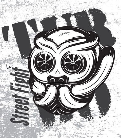 turbocharger: illustration of a street fight titanium bulldog with turbo