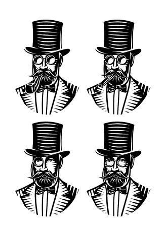 gentlemen: vector set of monochromatic gentlemen with different accessories Illustration