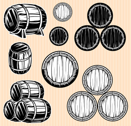 wooden barrel: vector set of monochromatic patterns with barrels for beverages