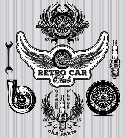 set of sports badge for service station with wheel spark plugs, wings, turbo  イラスト・ベクター素材