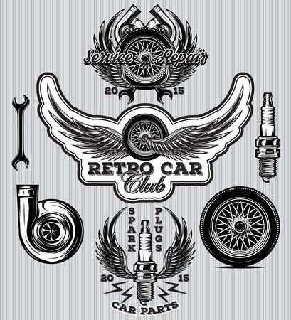 set van sport badge voor tankstation met wiel bougies, vleugels, turbo Stock Illustratie