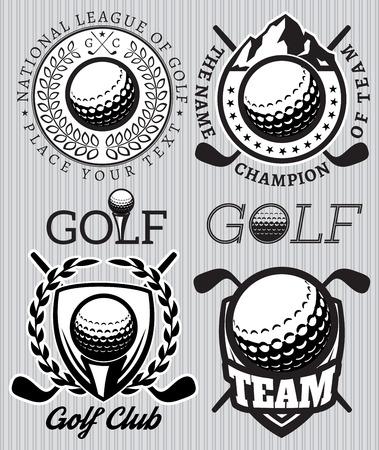 �illustration: conjunto de patrones de vectores insignias con los atributos para el golf