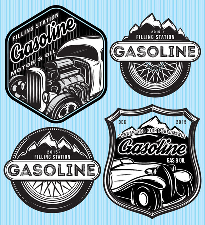 grand sale icon: vector stylish set of badges for advertising gasoline Illustration