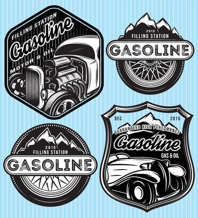 shield: vector stylish set of badges for advertising gasoline Illustration