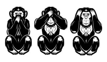 a set of three monkeys - hear no, see no, do not say Иллюстрация