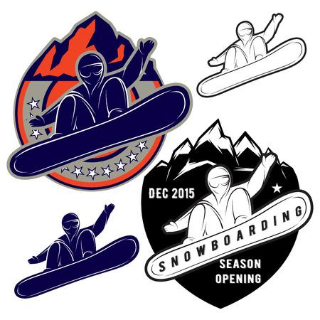 nordic ski: set of badges for extreme sports snowboarding