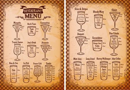 bebidas alcoh�licas: Vintage plantilla de men� de bebidas alcoh�licas para el restaurante