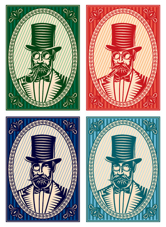 bowler hats: set of vector colorful illustrations with a gentleman and a variety of accessories