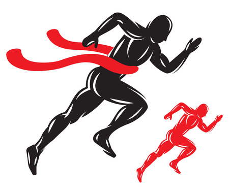 win: concept with running male athlete at the finish with finishing tape