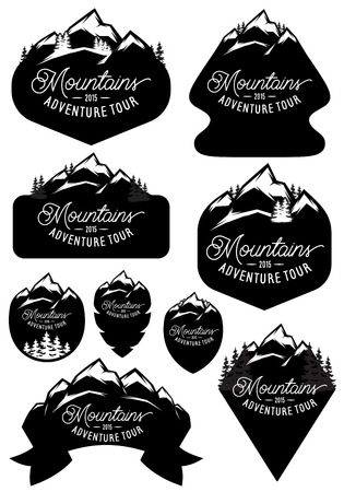 ski: set of vector stylish retro badge templates with mountains and forests
