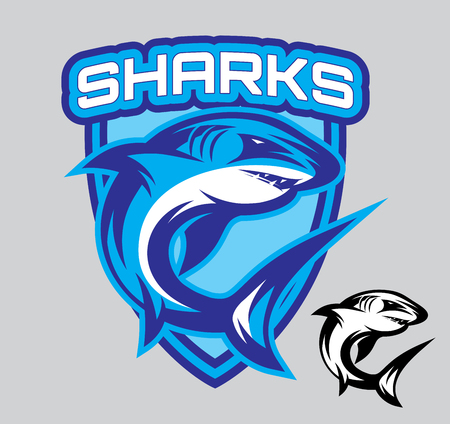 sharks: vector template stylish emblems for sports teams with a shark Illustration