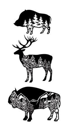 sport silhouette: stylized image of wild boar, deer, bison with landscape of mountains, forest