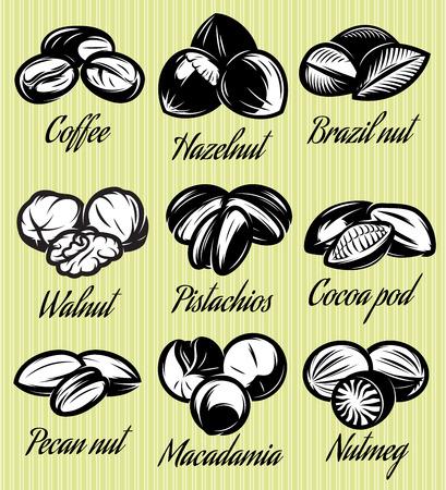 arboles frutales: Conjunto de s�mbolos de patrones de semillas diferentes, frutos secos, frutas