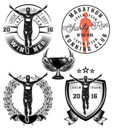 medal: set template with stylish sports athlete for the marathon