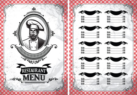 art logo: Stylish vintage vector template for a restaurant menu with chef in glasses
