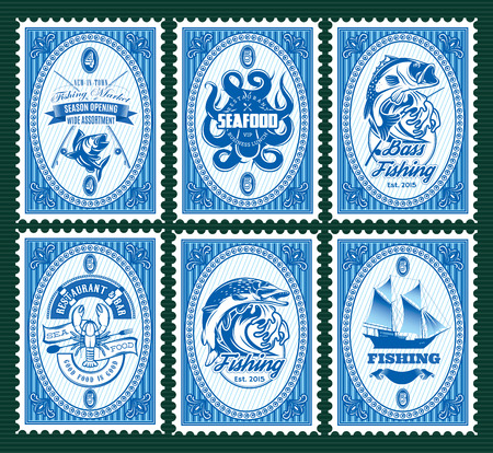 postal: set vector template of stamps with elements fishing, seafood
