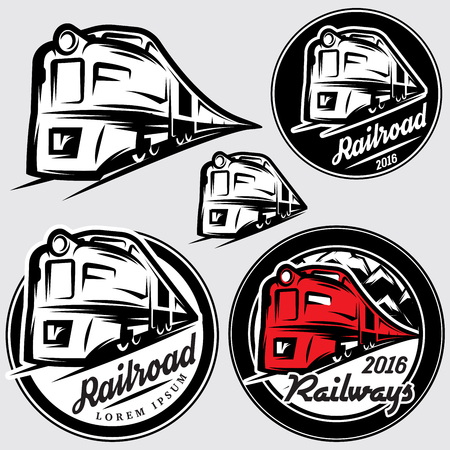 railroad: set of vector emblems in retro style with locomotives and railroad