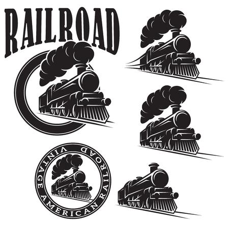 locomotora: conjunto de plantillas de vectores con una locomotora, tren de época