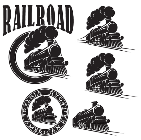 hand rails: set of vector templates with a locomotive, vintage train