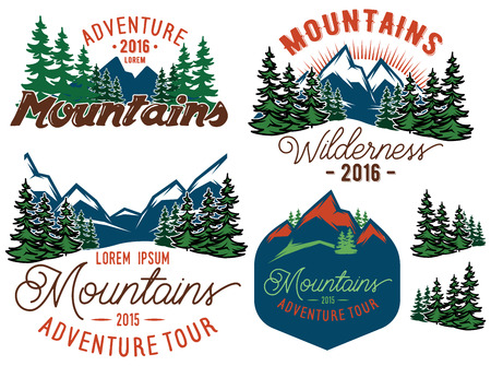 set vector template in retro style with mountains spruces forest Çizim