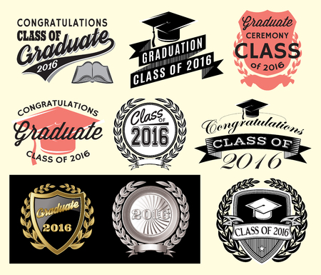 Graduation sector set Class of 2016, Congrats grad Congratulations Graduate 向量圖像