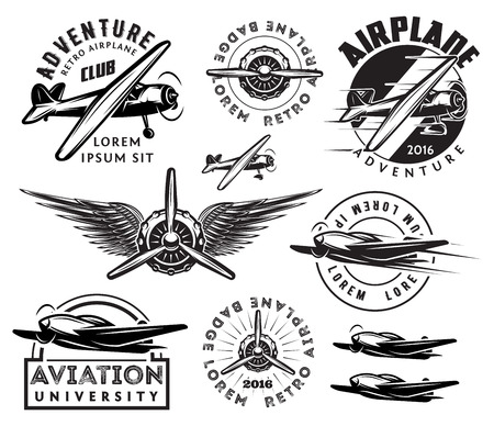retro pattern set of monochrome planes, badges, design elements