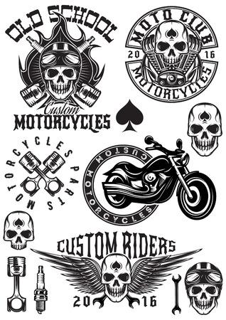 ensemble de badges vectoriels, des logos, des éléments de conception sur un thème motos avec des crânes Logo