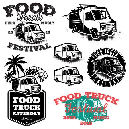 définir des modèles, des éléments de conception, emblèmes de style vintage pour le camion de nourriture