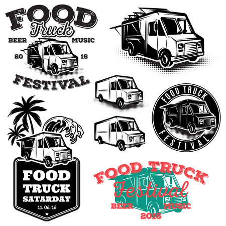 set of templates, design elements, vintage style emblems for the food truck Ilustração
