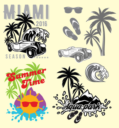 miami florida: set of emblems and design elements for templates for summer holiday or tourism Illustration