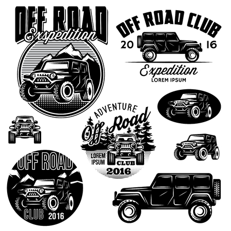 offroad: set of vector templates for SUVs off-road sport club Illustration