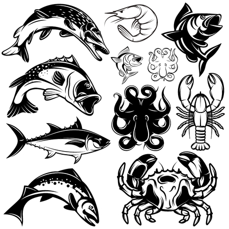 freshwater fish: set of monochrome river freshwater and marine fish and shellfish