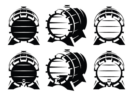 artisan: Set of vintage wooden barrels in different foreshortening on white background. Monochrome retro style. Vector illustration. Illustration
