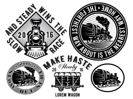 conjunto de plantillas de vectores con la locomotora retro, carro, tren de época, ilustración del tema del ferrocarril Ilustración de vector