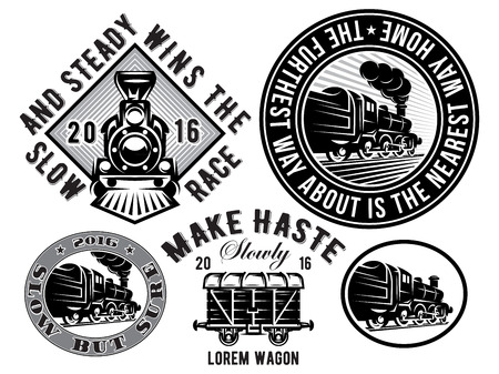 set of vector templates with retro locomotive, wagon, vintage train, illustration to topic railroad