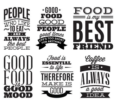 Ensemble de citations alimentaires typographiques vintage pour le menu ou t-shift Banque d'images - 63199675