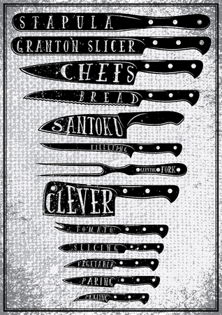 cooking utensils: retro poster with burlap texture with different types of kitchen knives Illustration