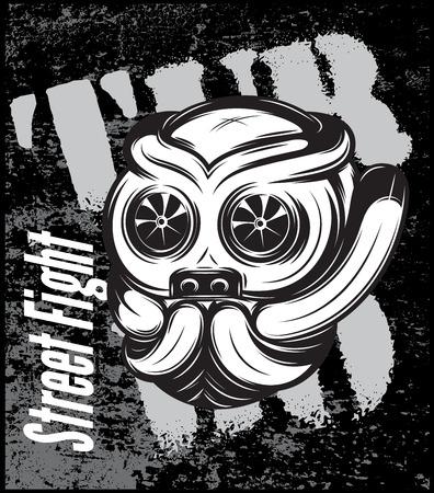 titanium: illustration of a street fight titanium bulldog with turbo