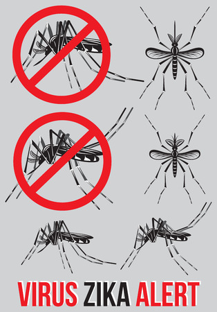cdc: Set of templates, elements with mosquito for medical emblem to topik Zika virus alert. Warning of caution and risk of infection this disease. Illustration